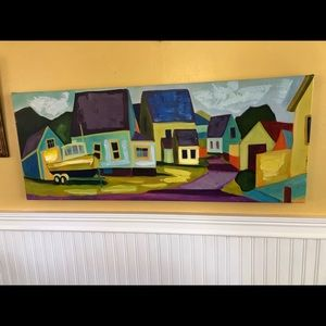 "Wrapped Canvas Painting of Village Scene 40""x16"